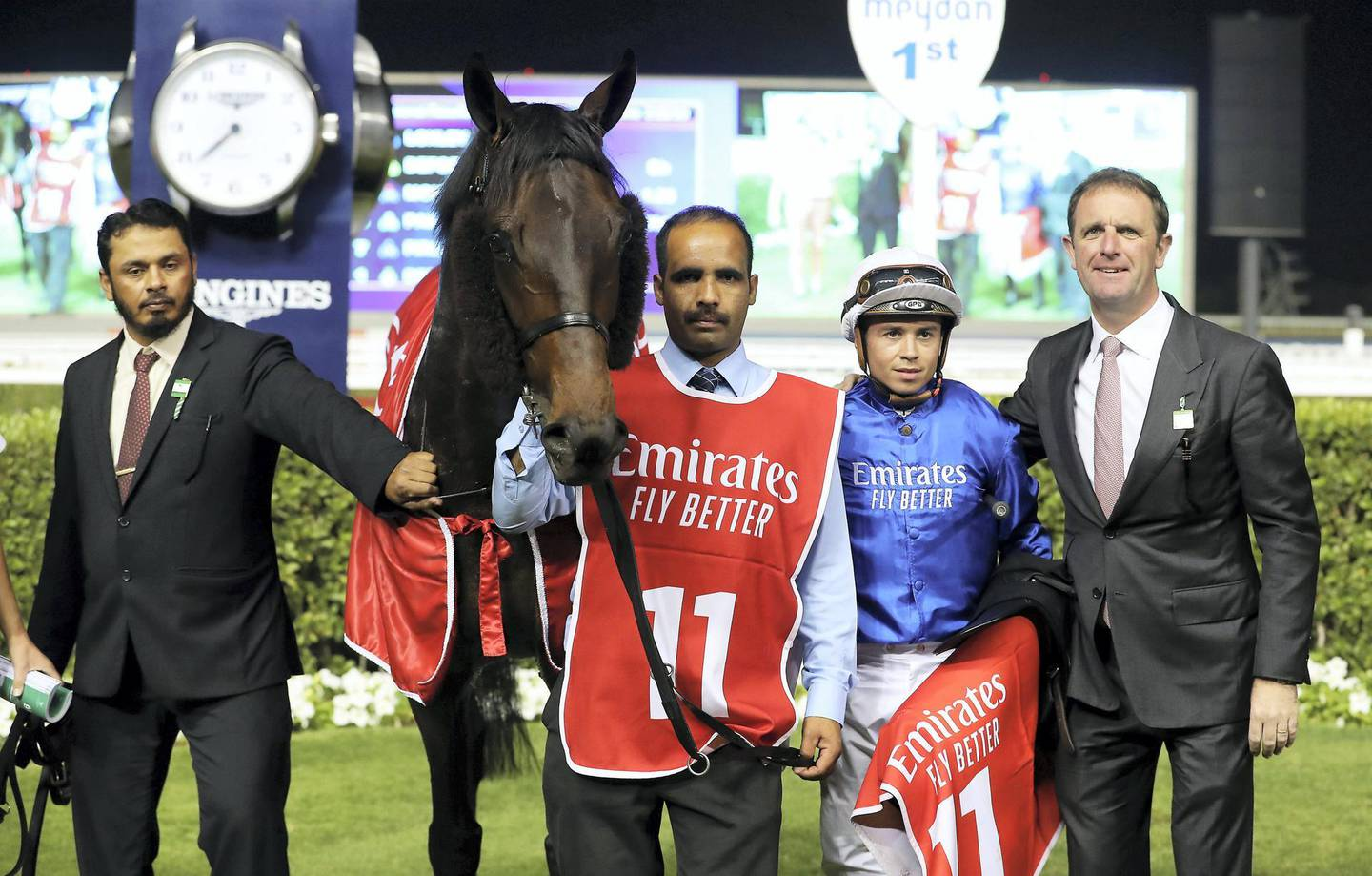 DUBAI , UNITED ARAB EMIRATES , Mar 7 – 2020 :- Mickael Barzalona  (no 11) guides Loxley  (IRE)  to win the 7th horse race Dubai City of Gold, 2410m Turf during the Super Saturday meeting at the Meydan Racecourse in Dubai. Super Saturday is the dress rehearsal for the Dubai World Cup. ( Pawan Singh / The National ) For Sports. Story by Amith