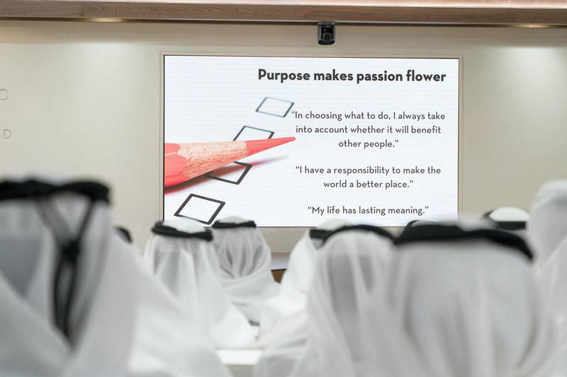 ABU DHABI, UNITED ARAB EMIRATES - May 23, 2018: Guests attend a lecture by Angela Duckworth (not shown), titled 'True Grit: The Surprising, and Inspiring Science of Success', at Majlis Mohamed bin Zayed. (Mohamed Al Hammadi / Crown Prince Court - Abu Dhabi ) ---