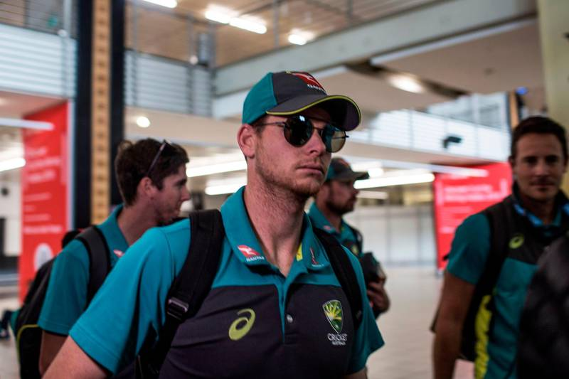 Ex-Captain Steve Smith of the Australian Cricket Team arrives at OR Tambo International Airport after the team was caught cheating in the Sunfoil Test Series between between Australia and South Africa on March 27, 2018.  / AFP PHOTO / GULSHAN KHAN