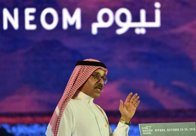 """Saudi CEO of NEOM Nadhmi al-Nasr speaks during the last day of the Future Investment Initiative FII conference in the Saudi capital Riyadh on October 24, 2018.  The summit, nicknamed """"Davos in the desert"""", has been overshadowed by growing global outrage over the murder of a Saudi journalist inside the kingdom's consulate in Istanbul. / AFP / FAYEZ NURELDINE"""