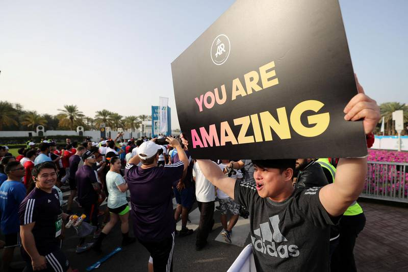 Dubai, United Arab Emirates - January 25, 2019: The start of the 10k at the Standard Chartered Dubai Marathon 2019. Friday, January 25th, 2019 at Jumeirah, Dubai. Chris Whiteoak/The National