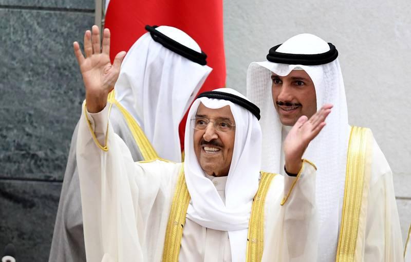 epa07957800 Emir of Kuwait Sheikh Sabah al-Ahmad al-Jaber al-Sabah (C) arrives to attend the fourth ordinary session of the National Assembly's 15th legislative term as Kuwait National Assembly speaker Marzouq al-Ghanim (R) looks on at Kuwait National Assembly in Kuwait City, Kuwait, 29 October 2019. Kuwaiti Emir inaugurated the fourth session of 15th legislative term of the Kuwaiti National Assembly.  EPA-EFE/STRINGER *** Local Caption *** 55586644