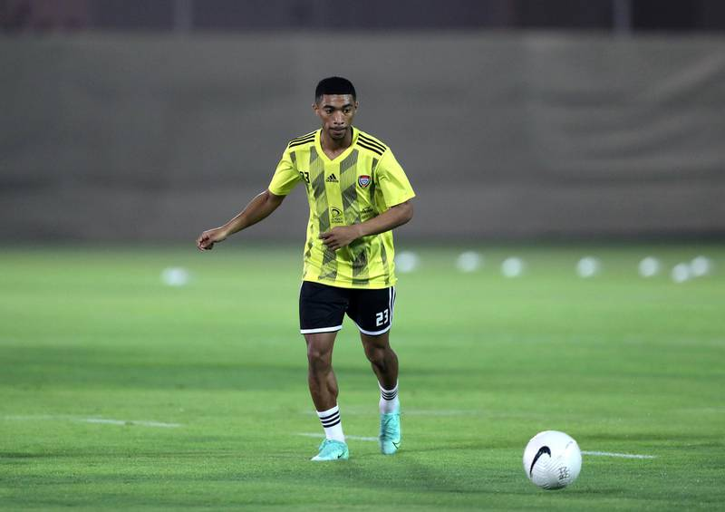 UAE's Mohammed Jumah during training before the game between the UAE and Vietnam in the World cup qualifiers at the Zabeel Stadium, Dubai on June 14th, 2021. Chris Whiteoak / The National.  Reporter: John McAuley for Sport
