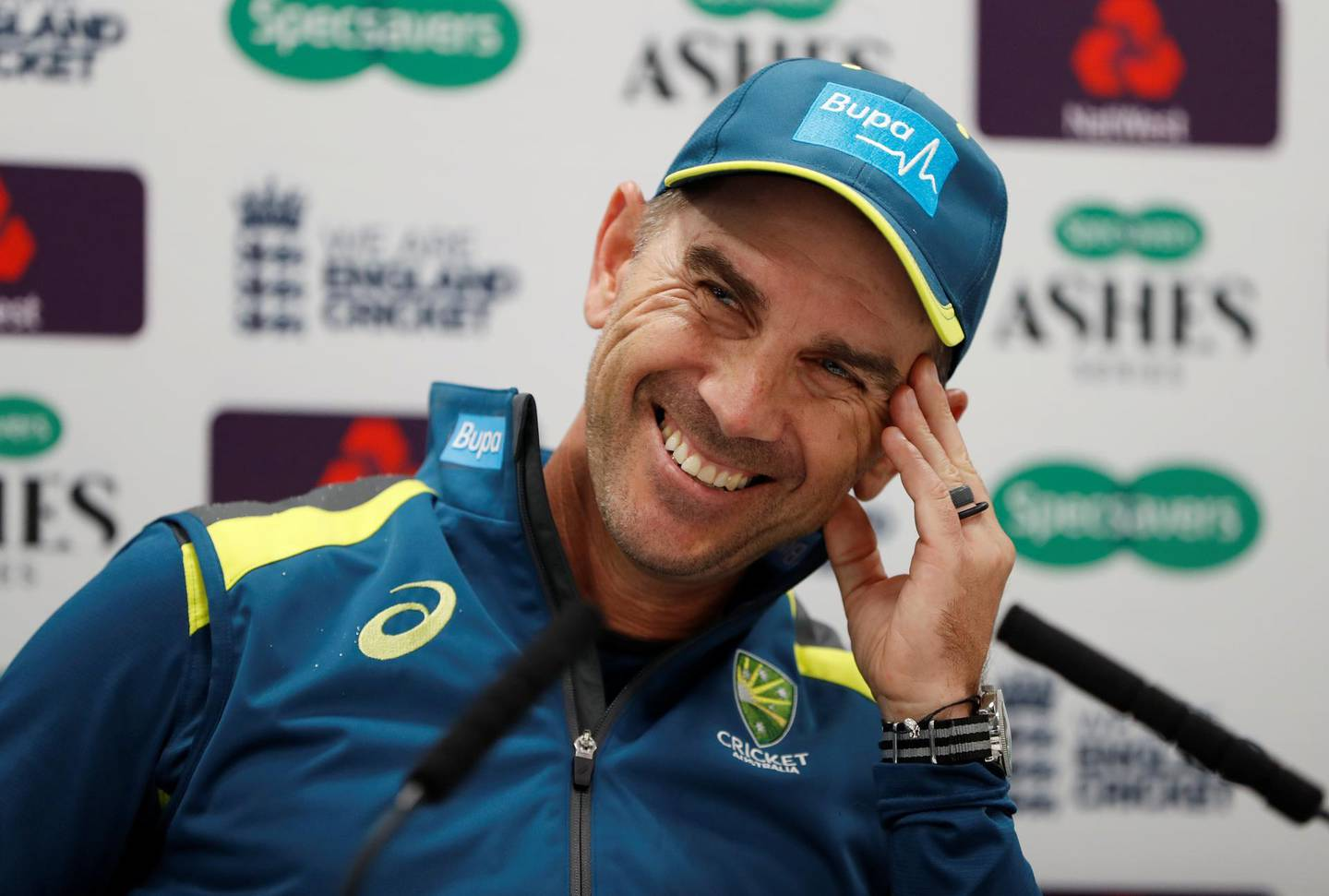 Cricket - Australia Press Conference - Lord's Cricket Ground, London, Britain - August 12, 2019   AustraliaheadcoachJustin Langer during a press conference   Action Images via Reuters/Paul Childs