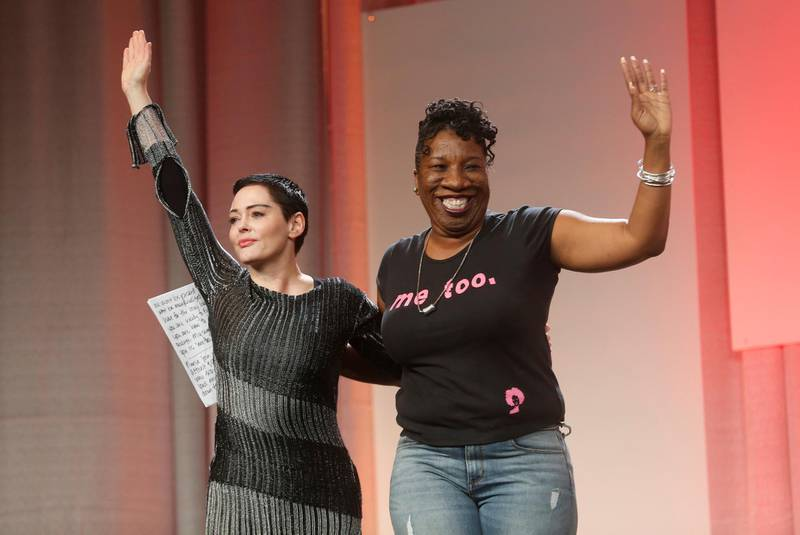 Founder of the #MeToo campaign Tarana Burke (R) introduces Actor Rose McGowan to speak during the opening session of the three-day Women's Convention at Cobo Center in Detroit, Michigan, U.S., October 27, 2017. REUTERS/Rebecca Cook