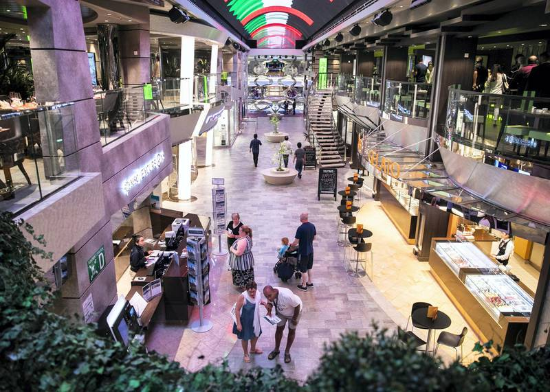 ABU DHABI, UNITED ARAB EMIRATES. 8 DECEMBER 2019. Shopping district in MSC Bellissima which arrived today at Abu Dhabi Cruise Terminal.(Photo: Reem Mohammed/The National)Reporter:Section:
