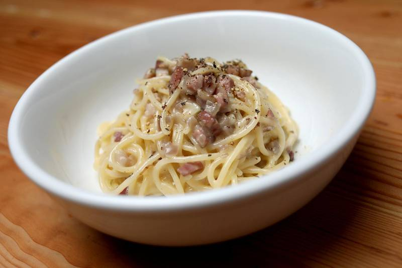 OAKLAND, CA - DECEMBER 04: The spaghetti carbonara, smoked pancetta, egg yolk, black pepper, pecorino and grana is photographed at Benchmark Oakland in Oakland, Calif., on Tuesday, Dec. 4, 2018. Benchmark Pizzeria owners Melissa and Peter Swanson have expanded from their first location in Kensington with Benchmark Oakland along Ninth Street in Old Oakland.  (Photo by Anda Chu/Digital First Media/East Bay Times via Getty Images)