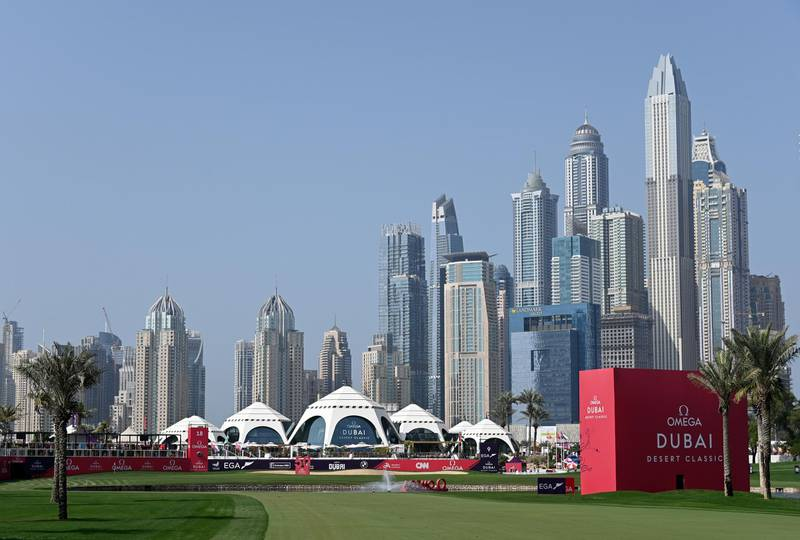 DUBAI, UNITED ARAB EMIRATES - JANUARY 26: A general view of the Emirates Golf Club and the Dubai skyline during a pro-am event prior to the Omega Dubai Desert Classic at Emirates Golf Club on January 26, 2021 in Dubai, United Arab Emirates. (Photo by Ross Kinnaird/Getty Images)