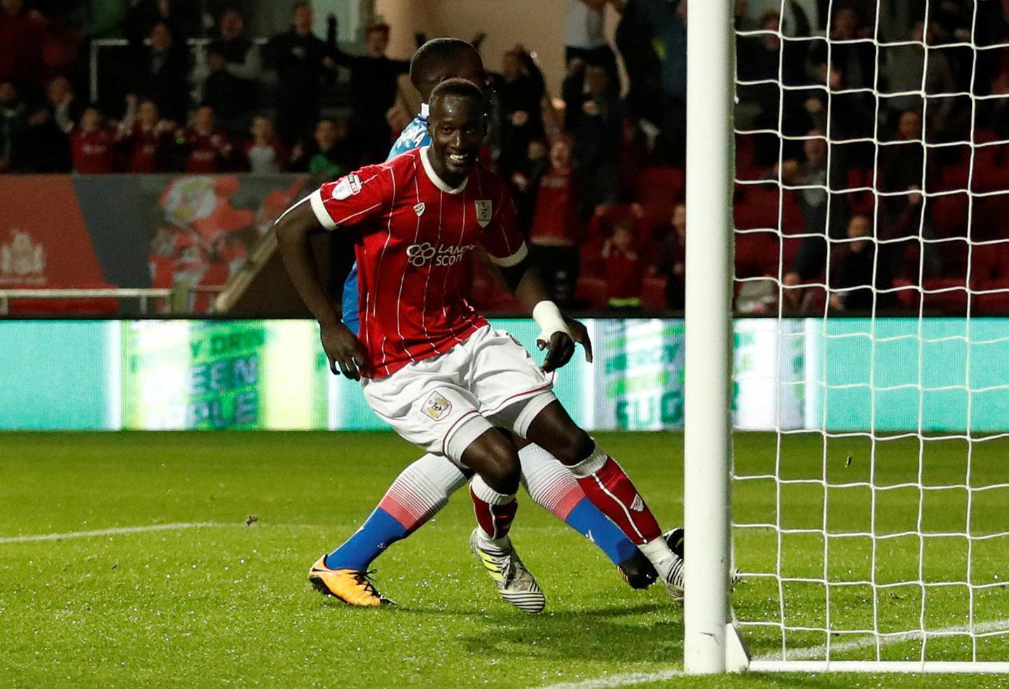"""Soccer Football - Carabao Cup Third Round - Bristol City vs Stoke City - Ashton Gate Stadium, Bristol, Britain - September 19, 2017  Bristol City's Famara Diedhiou scores their first goal    Action Images via Reuters/Andrew Boyers   EDITORIAL USE ONLY. No use with unauthorized audio, video, data, fixture lists, club/league logos or """"live"""" services. Online in-match use limited to 75 images, no video emulation. No use in betting, games or single club/league/player publications. Please contact your account representative for further details."""