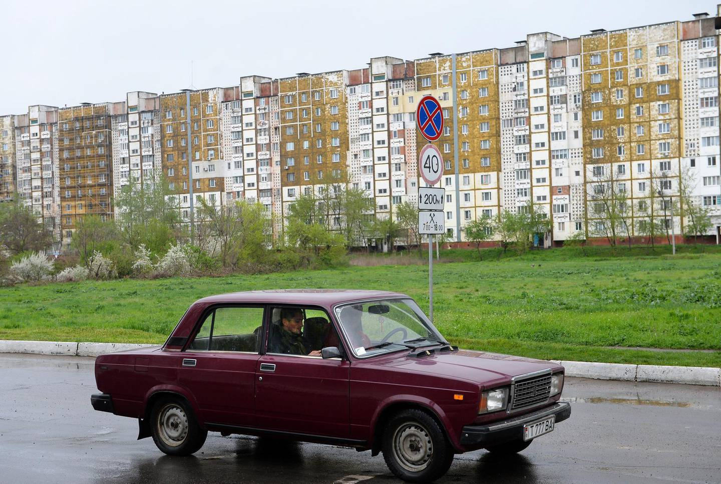 """A """"Lada"""" car, a brand well known during the communist era of former URSS drives in Tiraspol, the main city of Transdniestr separatist republic of Moldova April 16, 2014. Ukrainian Minister of foreign Affairs, Andrii Dechtchytsia, said was """"very concerned"""" by Transnistria breakaway pro-Russian entity in Moldova, while Moscow has to proceed to the annexation of Crimea to Russia.  """"The situation in Transnistria is a major concern, not only for Ukraine, not only for Moldova"""" stated Mr. Dechtchytsia during a press conference in the Brussels Forum of the German Marshall Fund. Transnistria, a small strip of land of 500,000 inhabitants in eastern Moldova, has won the support of Russia, a short war of independence after the collapse of the USSR in 1991. It is not recognized by the international community. AFP PHOTO DANIEL MIHAILESCU / AFP PHOTO / DANIEL MIHAILESCU"""