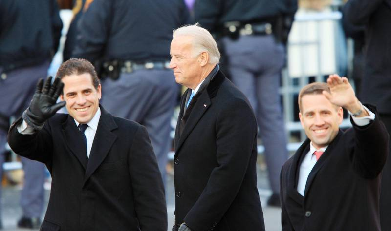 (FILES) In this file photo taken on January 19, 2009Vice-President Joe Biden and sons Hunter Biden (L) and Beau Biden walk in the Inaugural Parade January 20, 2009 in Washington, DC.  He has suffered profound personal tragedy and seen his earlier political ambitions thwarted, but veteran Democrat Joe Biden hopes his pledge to unify Americans will deliver him the presidency after nearly half a century in Washington / AFP / GETTY IMAGES NORTH AMERICA / DAVID MCNEW
