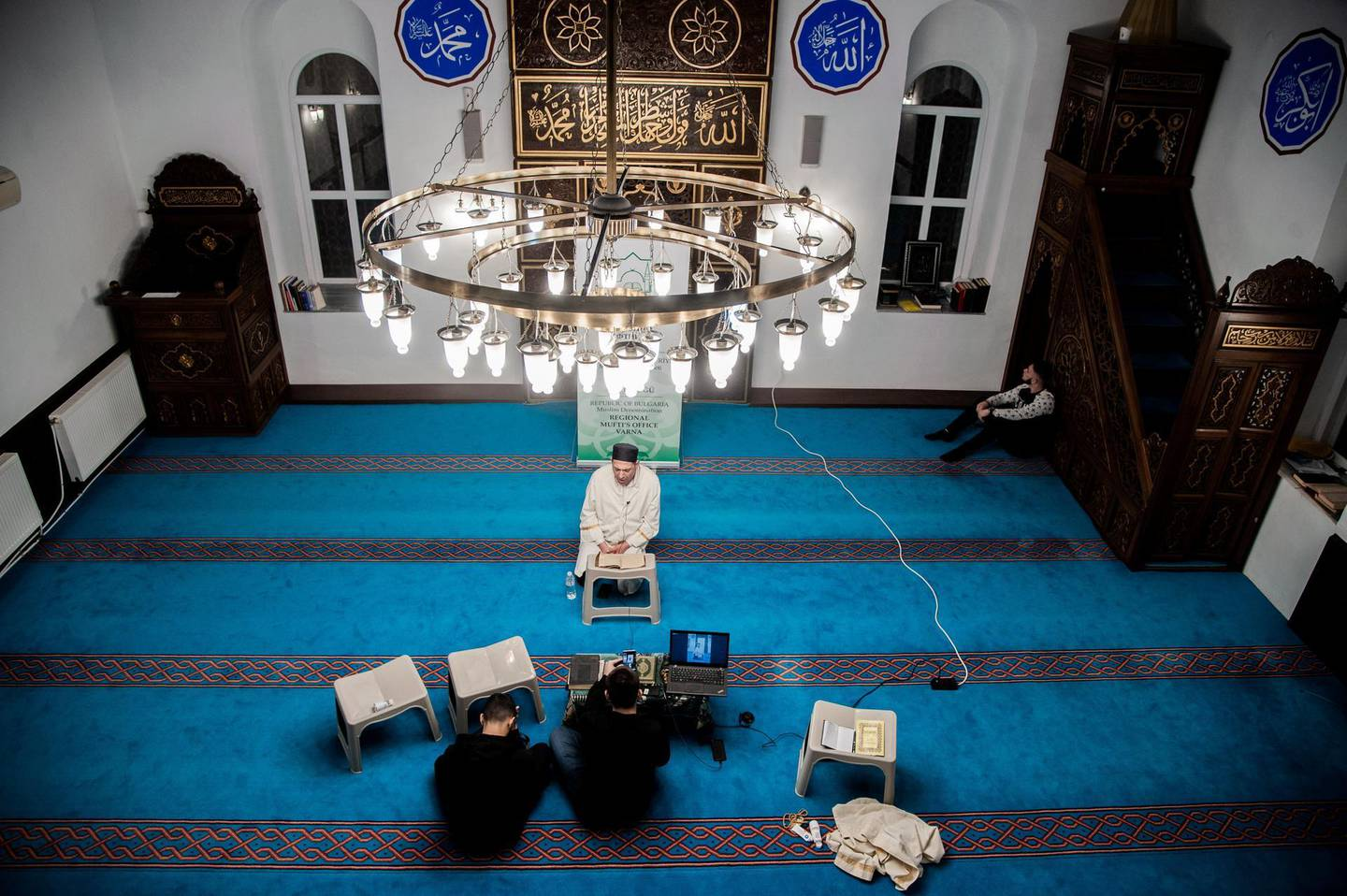 The Azazie Mosque livestream in facebook for Muslim community to pray from home, Varna, Bulgaria on April 07, 2020. Muslism meet the Night of Baraat  the 15th night of the month of Shaban. On this night Muslims do their rehearsal for the Month of Ramadan and everything they can in order to be closer to Allah (S.T.). They perform acts of worship in order to be better prepared for the meeting with the month of Ramadan, which is the worthiest among all months of the year. The Night of Baraat is the night in which Allah (S.T.) responds with forgiveness to anyone who turns to Him. This is the night in which everyone who ask for prosperity, will receive it from the Almighty! That is why Muslims do not miss to make sense of the hours of this night by performing acts of worship. The Azazie Mosque livestream in facebook for Muslim community to pray from home, Varna, Bulgaria on April 07, 2020 (Photo by Hristo Rusev/NurPhoto via Getty Images)