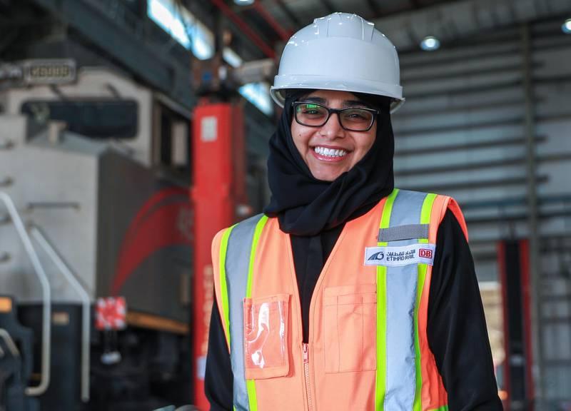 Abu Dhabi, United Arab Emirates, November 15, 2020.  Maithaa Al Remeithi, first Emirati train controller at Etihad Rail Depot, Al Mirfa.Victor Besa/The NationalSection:  NAReporter:  Kelly Clarke
