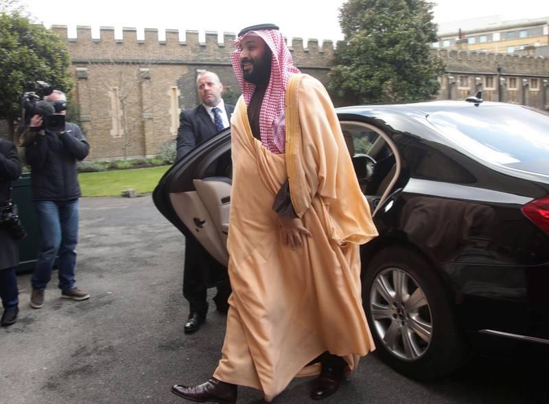 The Crown Prince of Saudi Arabia Mohammed bin Salman arrives at Lambeth Palace, London, Britain, March 8, 2018. REUTERS/Yui Mok/Pool