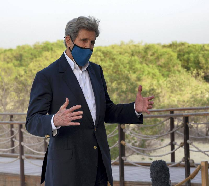 US Special Presidential Envoy for Climate John Kerry visits the Jubail Mangrove Park, in Abu Dhabi, United Arab Emirates April 3, 2021. Courtesy Office of the UAE Special Envoy for Climate Change