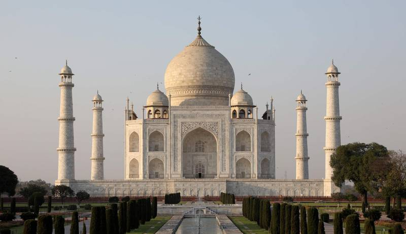 (FILE) In this photograph taken on March 11, 2018, the Taj Mahal mausoleum is pictured in the Indian city of Agra. India's top court on May 1 sharply criticised the government for failing to protect the Taj Mahal, the legendary centuries-old monument to love which has been changing colour because of pollution.  / AFP PHOTO / Ludovic MARIN