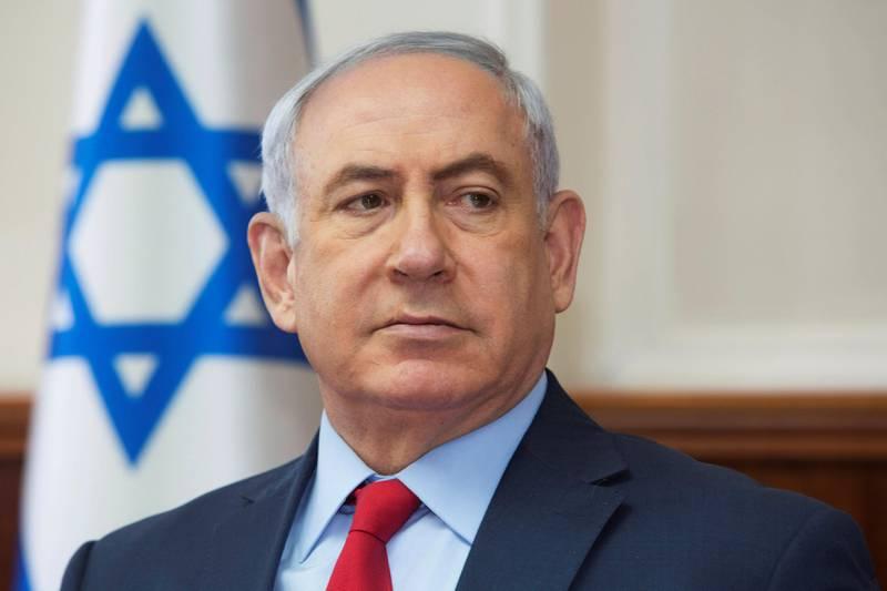 Israeli Prime Minister Benjamin Netanyahu attends the weekly cabinet meeting at his office in Jerusalem October 1, 2017. REUTERS/Sebastian Scheiner/Pool