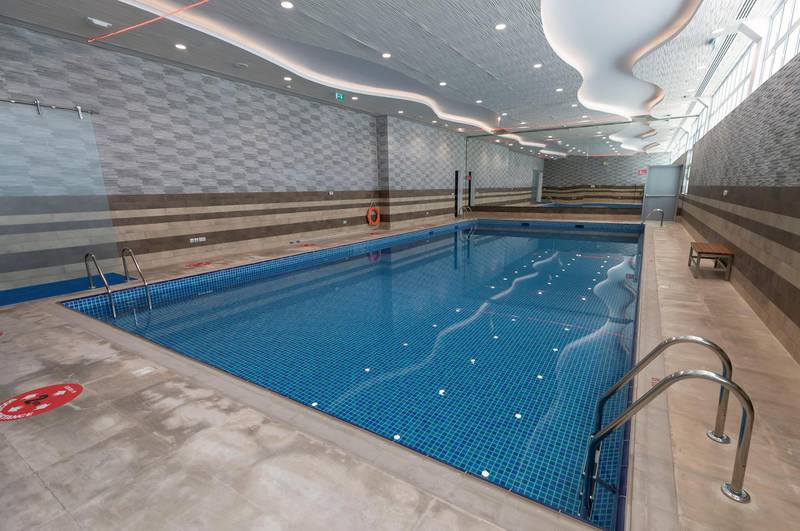 Sharjah, United Arab Emirates - Reporter: N/A. Sport. The new swimming pool at Sharjah cricket stadium. Wednesday, June 24th, 2020. Sharjah. Chris Whiteoak / The National