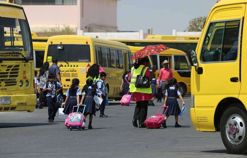 Dubai, 28, August, 2016 : Childrens from JSS Private School get back home after the first day   in Dubai. ( Satish Kumar / The National ) ID No: 65028 Section: Standalone *** Local Caption ***  SK-UAESchools-28082016-011.jpg