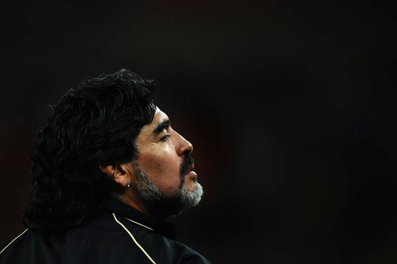JOHANNESBURG, SOUTH AFRICA - JUNE 27:  Diego Maradona head coach of Argentina looks on ahead of the 2010 FIFA World Cup South Africa Round of Sixteen match between Argentina and Mexico at Soccer City Stadium on June 27, 2010 in Johannesburg, South Africa.  (Photo by Laurence Griffiths/Getty Images)