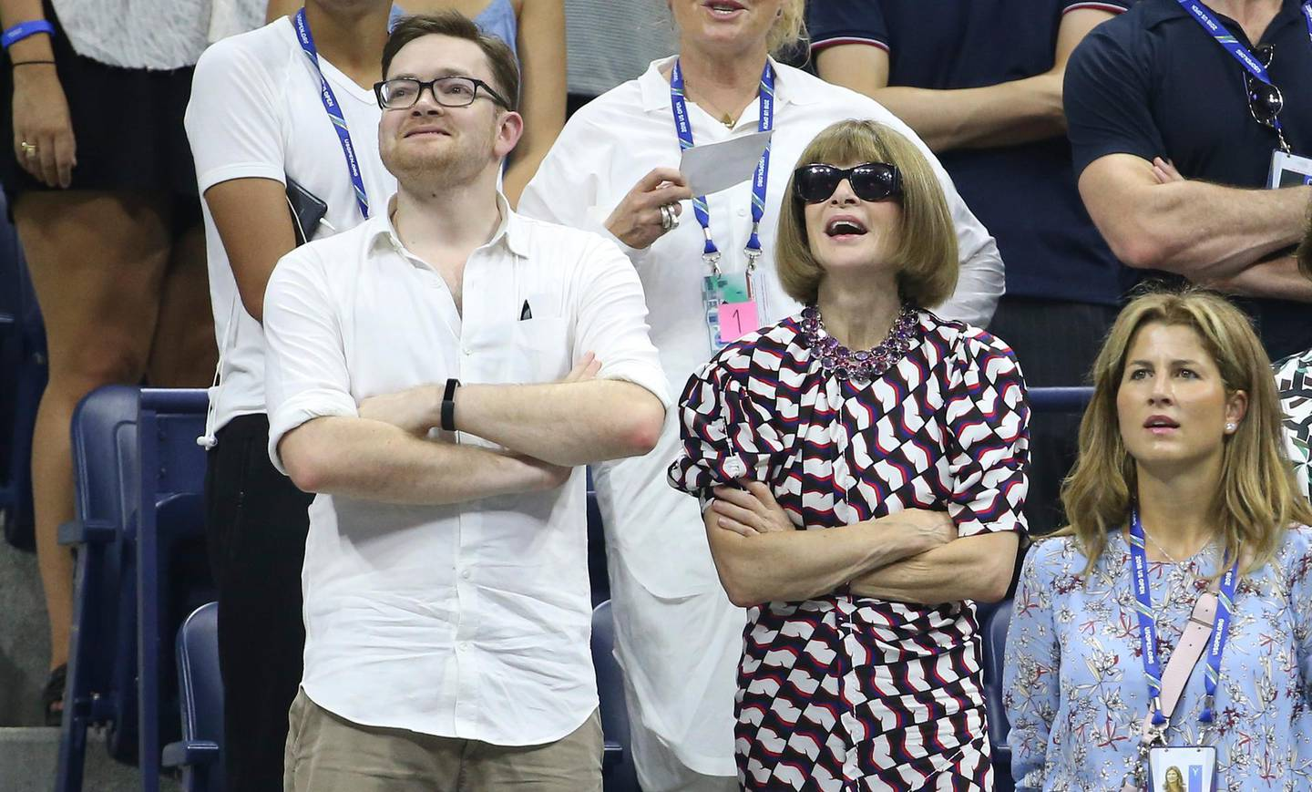 NEW YORK, NY - AUGUST 28: Anna Wintour and her son Charles Shaffer attend Roger Federer's match in his box during day 2 of the 2018 tennis US Open at Arthur Ashe stadium of the USTA Billie Jean King National Tennis Center on August 28, 2018 in Flushing Meadows, Queens, New York City. (Photo by Jean Catuffe/GC Images)