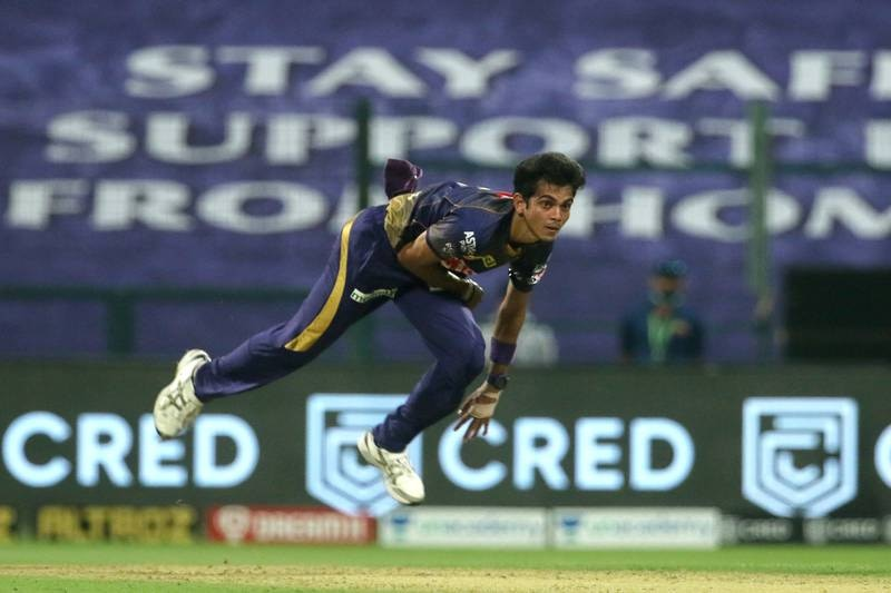 Kamlesh Nagarkoti of Kolkata Knight Riders bowls during match 8 of season 13 of the Dream 11 Indian Premier League (IPL) between the Kolkata Knight Riders and the Sunrisers Hyderabad held at the Sheikh Zayed Stadium, Abu Dhabi in the United Arab Emirates on the 26th September 2020.  Photo by: Vipin Pawar  / Sportzpics for BCCI