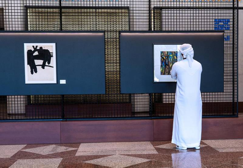 Abu Dhabi, United Arab Emirates, April 4, 2021.   A preview or first look at three new exhibitions at the Cultural Foundation. Exhibition by Mohamed Chabaa Victor Besa/The NationalSection:  AC