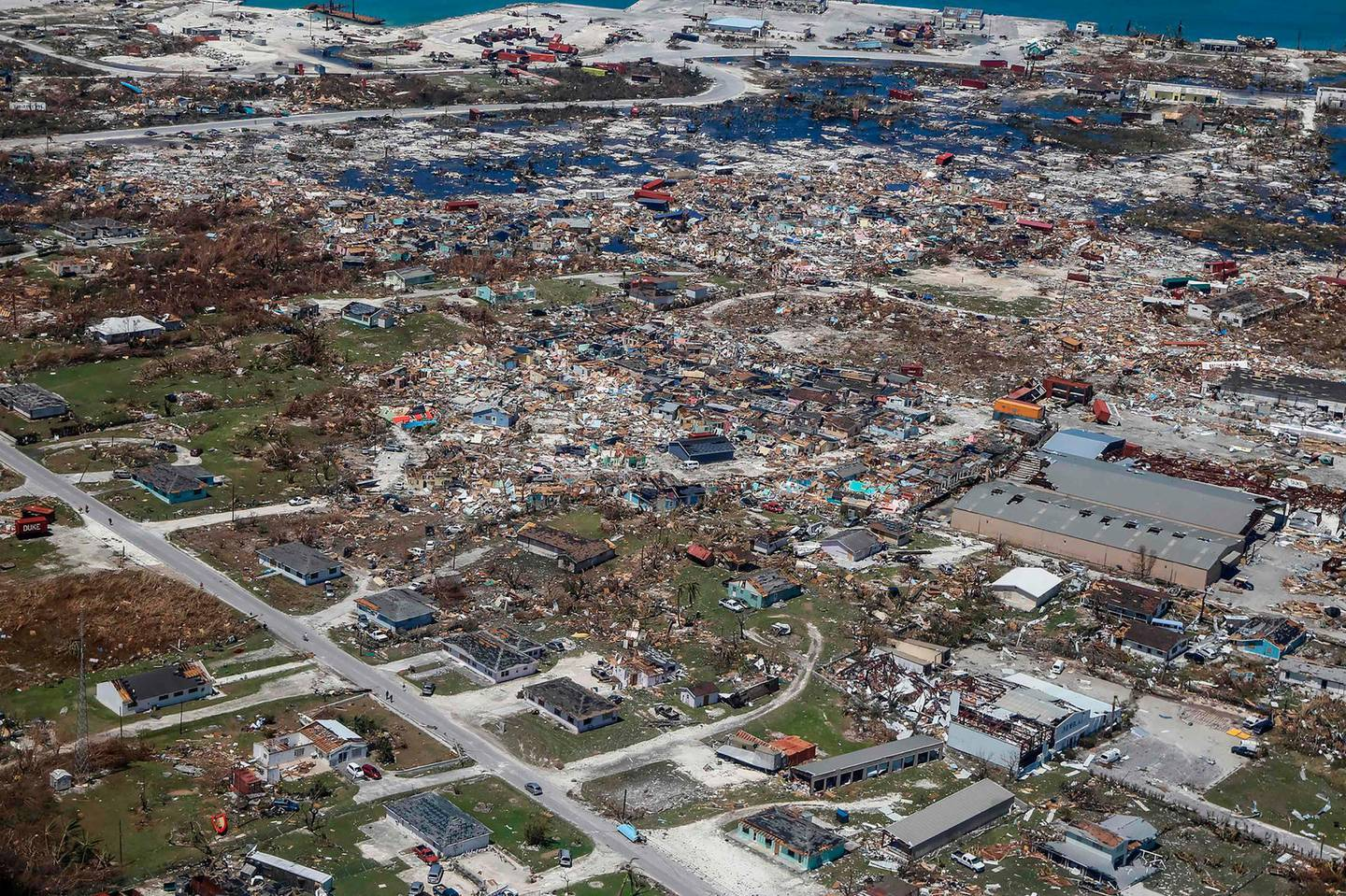 TOPSHOT - An aerial view of floods and damages from Hurricane Dorian on Freeport, Grand Bahama on September 5, 2019. / AFP / Adam DelGiudice