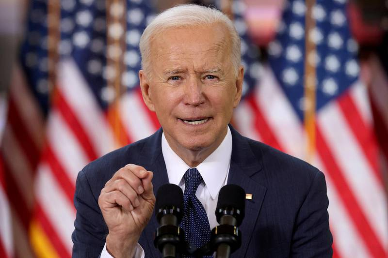 FILE PHOTO: U.S. President Joe Biden speaks about his $2 trillion infrastructure plan during an event to tout the plan at Carpenters Pittsburgh Training Center in Pittsburgh, Pennsylvania, U.S., March 31, 2021. REUTERS/Jonathan Ernst/File Photo