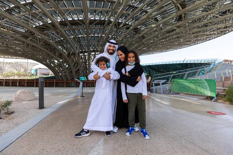 DUBAI, APRIL 01 2021: Khalid Al Ameri and his family experiencing a low sensory tour of Terra - The Sustainability Pavilion Expo 2020 Dubai. (Photo by Suneesh Sudhakaran/Expo 2020)