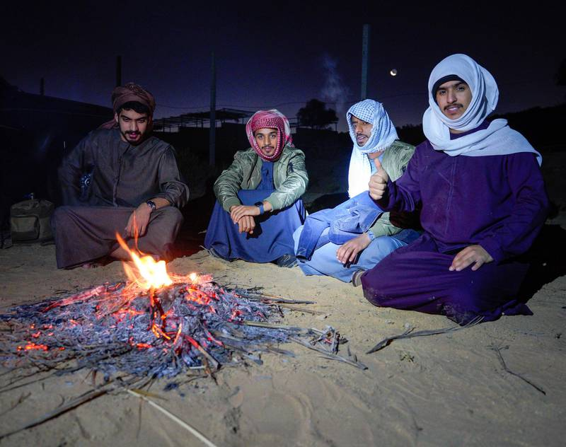 Rukna Region, Al Ain, United Arab Emirates, January 11, 2021. Al Ain residents, drove to the Rukna region to experience the  low temperatures of the area which went down to -4 degrees Celsius  at one point.                     Victor Besa/The NationalSection:  NAReporter:  Haneen Dajani