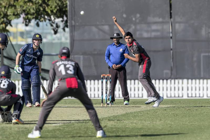 ABU DHABI, UNITED ARAB EMIRATES. 07 JANUARY 2020. STOCK PHOTOGRAPHY. The U19 UAE Cricket Team playes against Scotland at the ICC Academy in Sports City. Player Aryan Lakra. (Photo: Antonie Robertson/The National) Journalist: Paul Radley. Section: Sport.