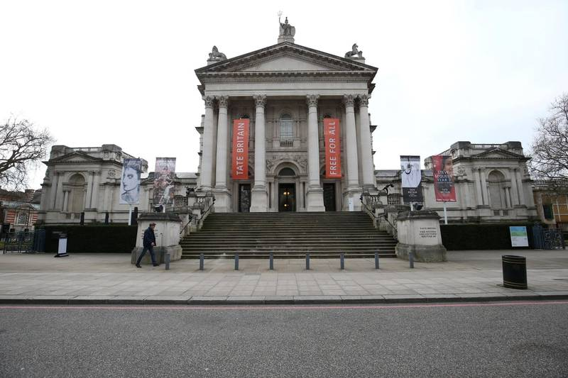 A view of Tate Britain, in London, as the Tate said all four of its galleries - the Tate Modern and Tate Britain in London, the Tate Liverpool and Tate St Ives - will be closed from March 17 through to May 1, due to the Coronavirus outbreak.