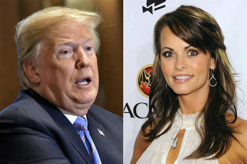 TOPSHOT - (COMBO) This combination of file pictures created on July 20, 2018 shows (L-R) US President Donald Trump on July 18, 2018, in Washington, DC, and Playboy model Karen McDougal on February 6, 2010 in Miami Beach, Florida.  Trump was secretly taped by his longtime lawyer, Michael Cohen, discussing payments to McDougal, with whom he allegedly had an affair, and the recording is in FBI hands, The New York Times reported on July 20, 2018. / AFP / GETTY IMAGES NORTH AMERICA / Nicholas Kamm AND Dimitrios Kambouris