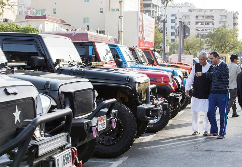 DUBAI, UNITED ARAB EMIRATES - Visitors at UAE Offroaders Show at Al Ghurair Centre.  Leslie Pableo for The National for Adam Workman's story