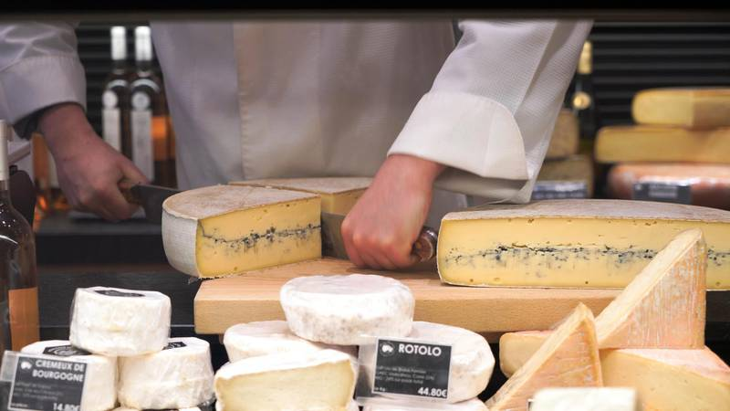 French cheese is displayed for sale at a supermarket in Joinville-le-Pont, near Paris, as sales of cheese eaten at home has rocketed over the last year amid lockdowns and restrictions in France, March 25, 2021, in this screen grab taken from a video. Picture taken March 25, 2021. Lucien Libert/REUTERS TV via REUTERS