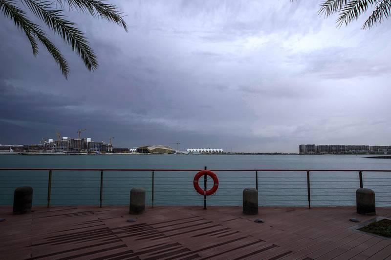 Abu Dhabi, United Arab Emirates, March 21, 2020.  Cloudy weather at Al Bandar, Abu Dhabi.  The Yas Marina area from Al Bandar.Victor Besa / The NationalReporter:   Section: