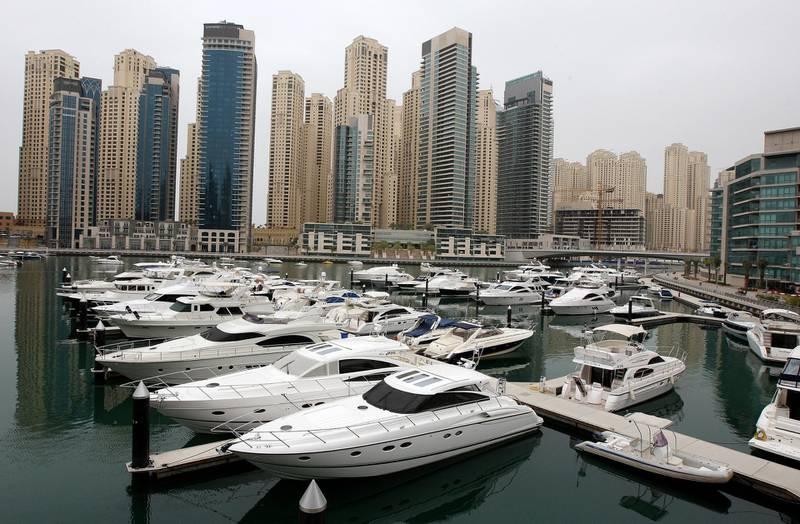 DUBAI, UNITED ARAB EMIRATES Ð April 3: Yachts parked in Dubai Marina Yacht Club, Dubai. (Pawan Singh / The National) *** Local Caption ***  PS04- DM YACHT CLUB.jpg