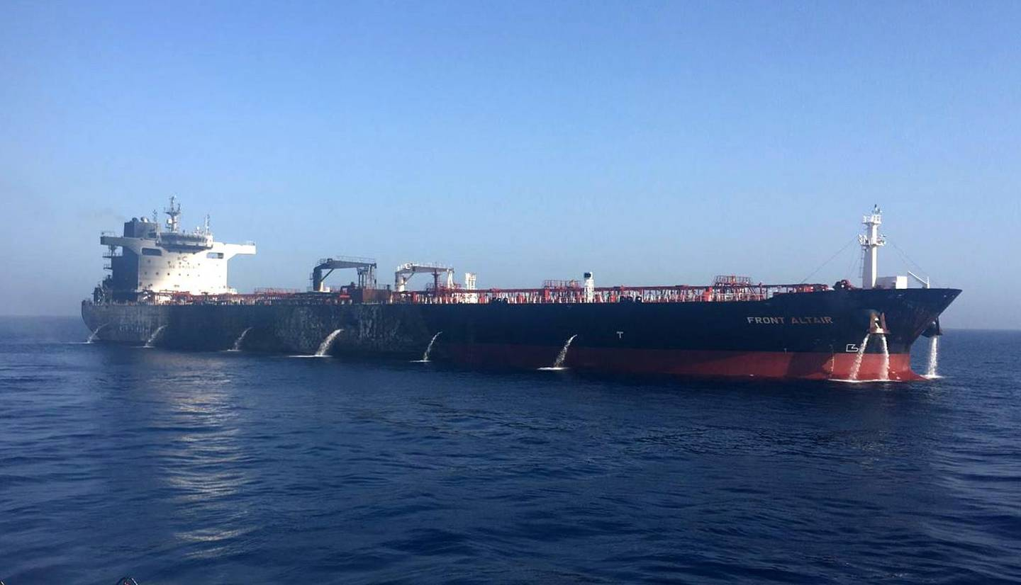 epa07645618 A handout photo made available by the Norwegian shipowner Frontline shows the damaged crude oil tanker 'Front Altair' in the Gulf of Oman, 13 June 2019. According to the Norwegian Maritime Authority, three explosions wee reported on board the Front Altair in the Gulf of Oman after allegedly being attacked and in the early morning of 13 June between the UAE and Iran.  EPA/FRONTLINE / HANDOUT NORWAY OUT HANDOUT EDITORIAL USE ONLY/NO SALES