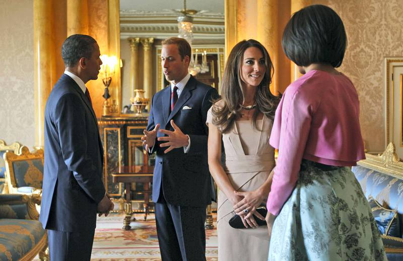 LONDON, ENGLAND - MAY 24:  US President Barack Obama (L) and First Lady Michelle Obama (R) meet with Prince William, Duke of Cambridge and Catherine, Duchess of Cambridge at Buckingham Palace on May 24, 2011 in London, England. The 44th President of the United States, Barack Obama, and his wife Michelle are in the UK for a two day State Visit at the invitation of HM Queen Elizabeth II. During the trip they will attend a state banquet at Buckingham Palace and the President will address both houses of parliament at Westminster Hall.  (Photo by Charles Dharapak - WPA Pool/Getty Images)