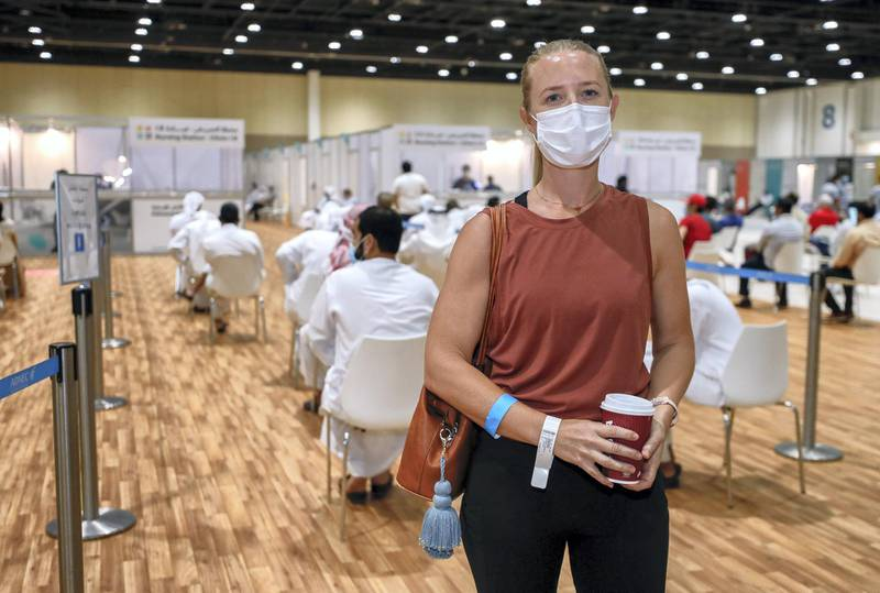 Abu Dhabi, United Arab Emirates, August 6, 2020.  --  Justine Anderson -41 A busy day at the ADNEC volunteer facility. Victor Besa /The NationalSection: NAReporter:  Shireena Al Nowais