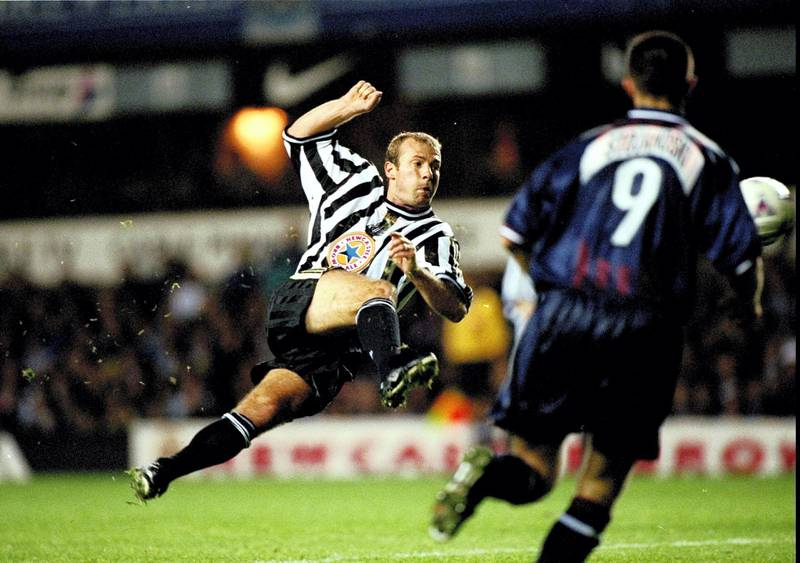 17 Sep 1998:  Alan Shearer of Newcastle takes a shot a goal during the European Cup Winners Cup against Partizan Belgrade played at St James'' Park in Newcastle, England. Newcastle won the game 2-1. \ Mandatory Credit: Clive Brunskill /Allsport