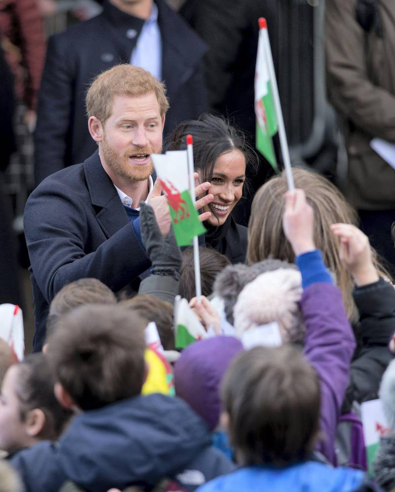 CARDIFF, WALES - JANUARY 18:  Meghan Markle and Prince Harry visit Cardiff Castle on January 18, 2018 in Cardiff, Wales.  (Photo by Mark Cuthbert/UK Press via Getty Images)