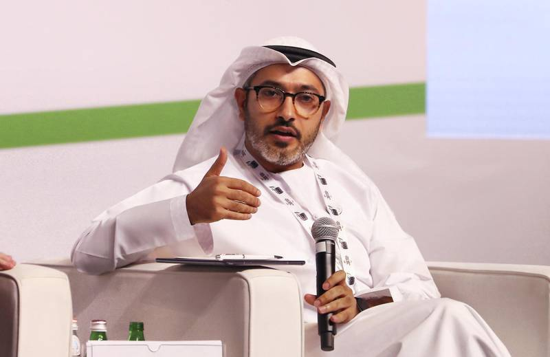 ABU DHABI , UNITED ARAB EMIRATES , November 14  – 2018 :- Mohamed Abushahab , UAE Ambassador to the Kingdom of Belgium and the EU during the session on 'Breaking the Glass Ceiling in Diplomacy' at the Diplocon , Abu Dhabi Diplomacy Conference 2018 held at the St. Regis Saadiyat Island Resort in Abu Dhabi. ( Pawan Singh / The National ) For News. Story by Gill Duncan / Daniel Sanderson
