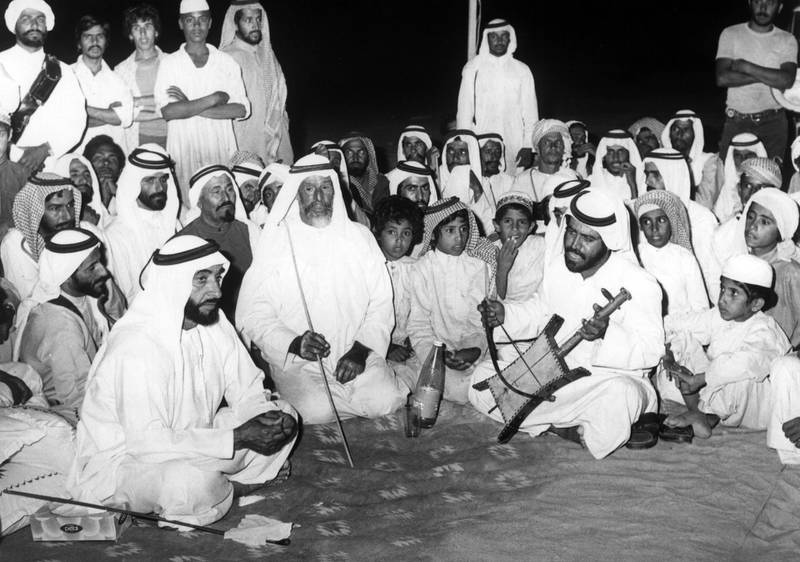 Sheikh Zayed Bin Sultan Al Nahyan meeting citizens in Ghayathi, 1976  National Archives images supplied by the Ministry of Presidential Affairs to mark the 50th anniverary of Sheikh Zayed Bin Sultan Al Nahyan becaming the Ruler of Abu Dhabi. *** Local Caption ***  36.jpg