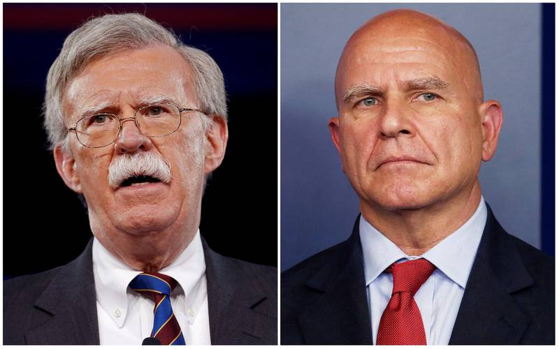 FILE PHOTO -- Former U.S. Ambassador to the United Nations John Bolton (L) speaks in Oxon Hill, Maryland, U.S. February 24, 2017, and White House National Security Advisor H.R. McMaster joins the daily briefing in Washington, U.S. July 31, 2017, in this combination photograph.  REUTERS/Joshua Roberts, Jonathan Ernst/File Photo
