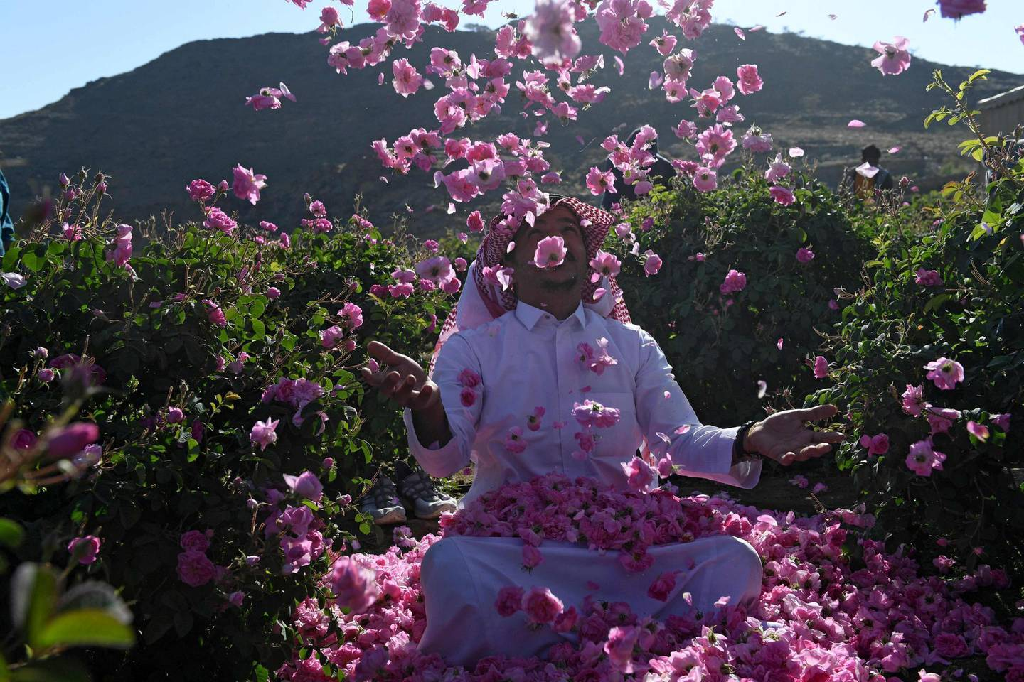Salman, a member of the Bin Salman family, throws roses into the air at the family's farm in the Saudi city of Taif on March 13, 2021. The family farm is open to visitors and offers a complete rural experience including the viewing of the time-honoured tradition of extracting rose water and oil from the Taif rose, a prized component in the cosmetic, culinary and other industries. It has become synonymous with the city itself, dubbed locally as the City of Roses. / AFP / Amer HILABI