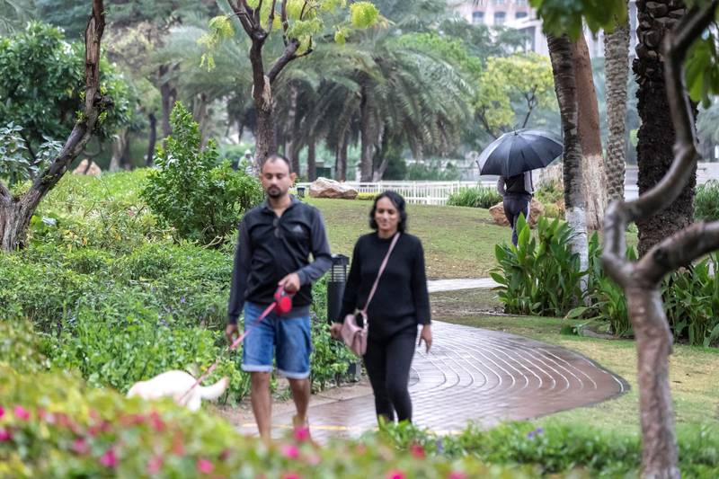 DUBAI, UNITED ARAB EMIRATES. 10 JANUARY 2020. Heavy rains in Dubai during the night had residenst wake up to wet pavements and large water puddles with some areas experiencng mild flooding. Residents of The Greens enjoy their morning walk in the earlt drizzle. (Photo: Antonie Robertson/The National) Journalist: Standalone. Section: National.