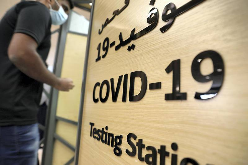 DUBAI, UNITED ARAB EMIRATES , October 14 – 2020 :- Anto Antony going to give his COVID-19 nasal swab test at the COVID 19 testing station set up at Mall of the Emirates in Dubai. (Pawan Singh / The National) For News/Online. Story by Sarwat