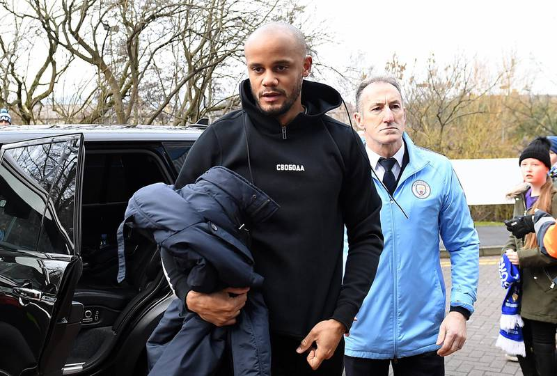 HUDDERSFIELD, ENGLAND - JANUARY 20:  Vincent Kompany of Manchester City arrives during the Premier League match between Huddersfield Town and Manchester City at John Smith's Stadium on January 20, 2019 in Huddersfield, United Kingdom. (Photo by Michael Regan/Getty Images)